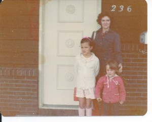 first day of school Lucia and Corralee with Mom around 1976